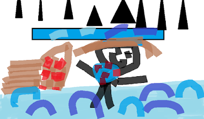 Child's drawing of swimming