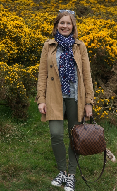 Hike up Swanston pentland Hills outfit spring trench coat olive jeans Converse  gorse Whin bushes | awayfromblue