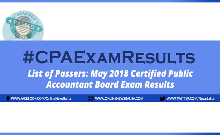 LIST OF PASSERS: May 2018 Certified Public Accountant (CPA) Board Exam Results
