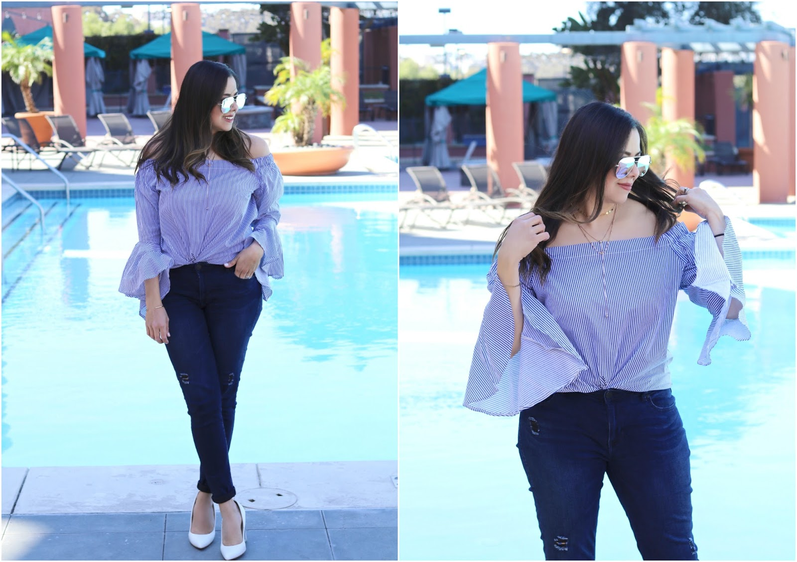 off the shoulder asos top, blue and white spring outfit, spring 2018 outfit