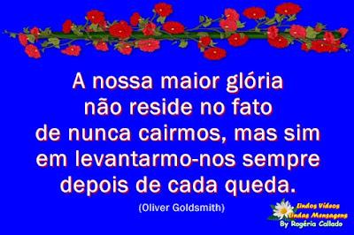 A nossa maior glória não reside no fato de nunca cairmos, mas sim em levantarmo-nos sempre  depois de casa queda. (Oliver Goldsmith)
