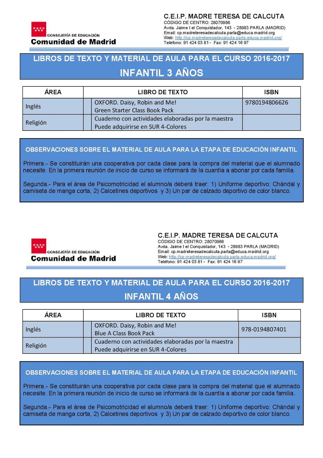 d8f1c631ec LIBROS DE TEXTO Y MATERIAL DE AULA PARA EL CURSO 2016-2017. Publicado por  AMPA MADRE TERESA ...