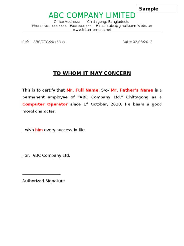 To Whom It May Concern Letter Sample For Employee