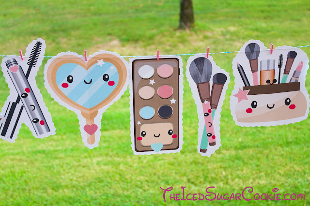 Makeup Birthday Party DIY Banner Ideas-Powder, Lipstick, Powder, Mascara, Makeup Palette, Brushes
