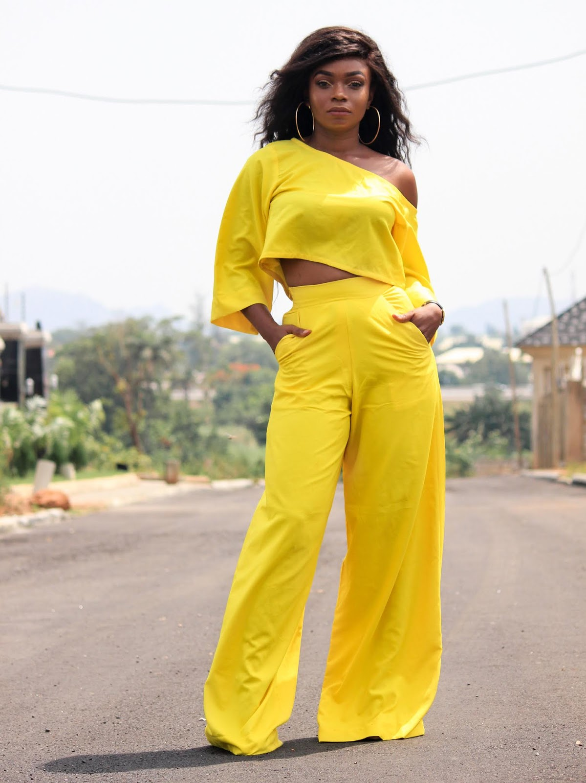 YELLOW YELLOW PANTS + TOP - Yellow Palazzo Pants and Top from Porshher