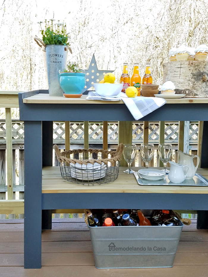 how to build a serving cart - gray and wooden