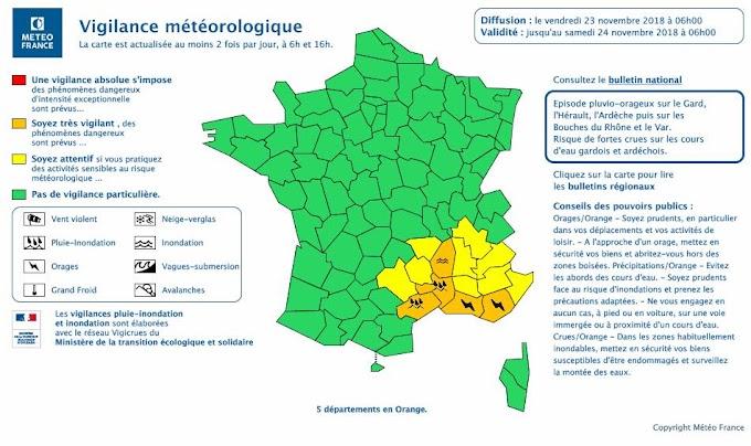 Météo France ajoute l'Hérault en vigilance Orange