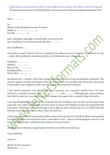 Complaint Letter to Broadband Provider for Poor Internet Speed (Sample)