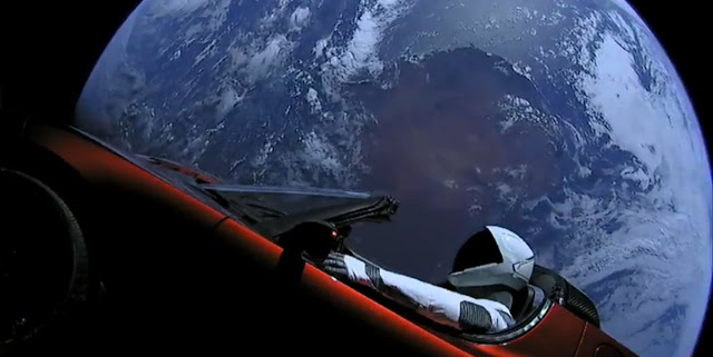 Image Attribute: Elon Musk's SpaceX 'Starman' driving Tesla Roadster in Space / Source: SpaceX