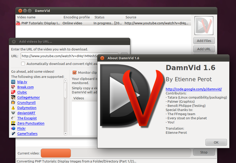 Ubuntu Buzz !: Download and Convert YouTube Videos with DamnVid