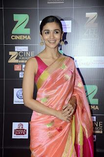 Alia Bhatt looks super cute doll in Saree and Sleeveless Maroon Choli