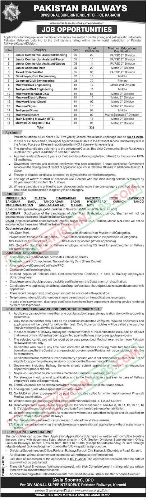 Latest Vacancies Announced in Pakistan Railways Karachi Division 4 October 2018 - Naya Pakistan