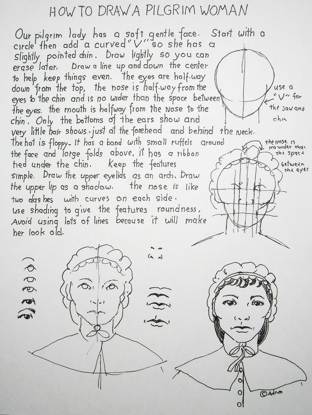 How To Draw Worksheets For The Young Artist How To Draw A Pilgrim Woman