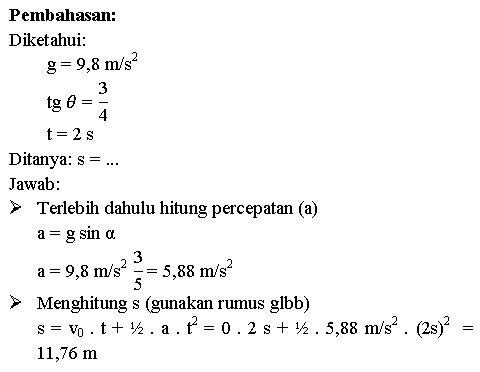 Menghitung jarak benda yang bergerak pada bidang miring