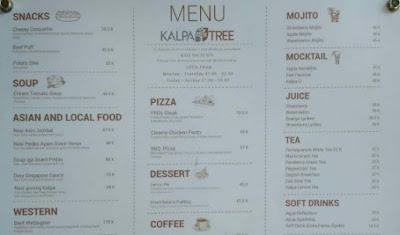 Harga menu makanan di Kalpa Tree Cafe