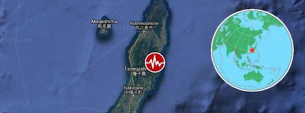 Fuerte terremoto golpea Tanegashima, Kyushu, Japón