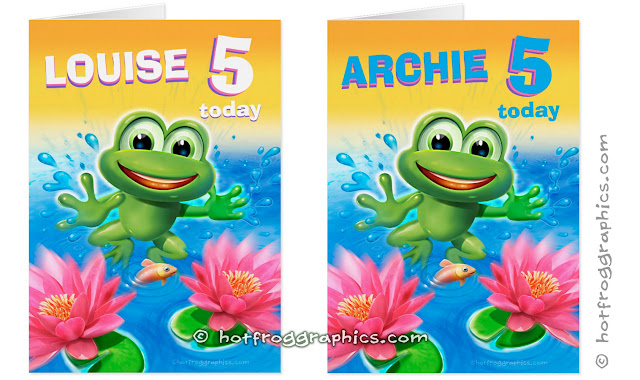 Two birthday cards from Leaping Frog range by Hot Frog Graphics