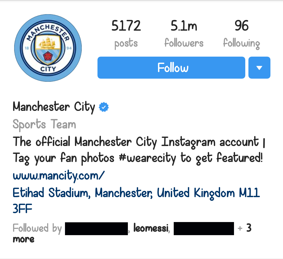 Lionel Messi is following Manchester City on Instagram