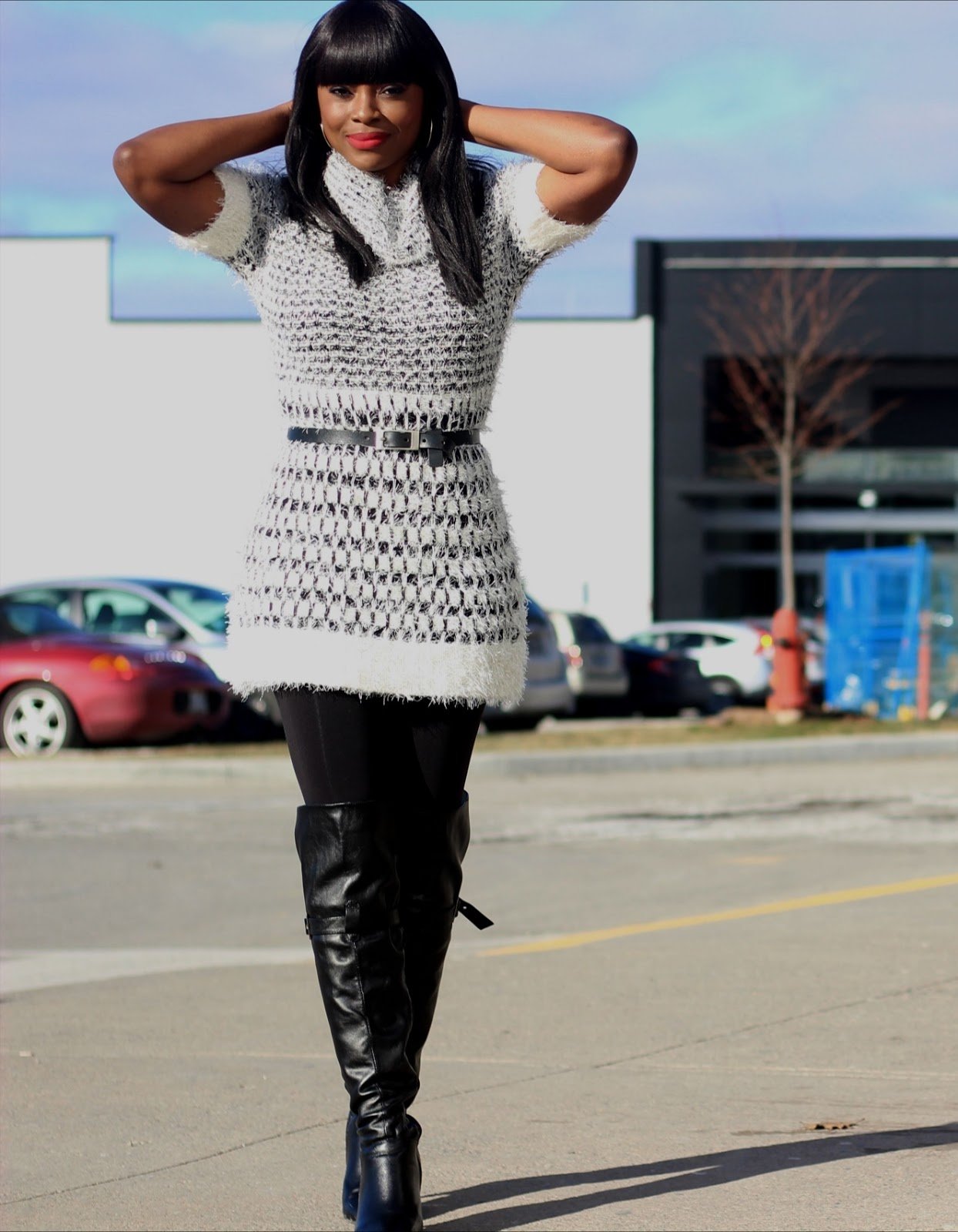 what to wear in winter: sweater dress + leggings + over-the-knee boots