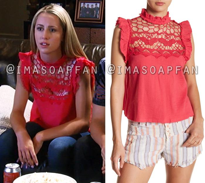 Josslyn Jacks, Eden McCoy, Ruffled Pink Top with Crochet Lace Yoke, General Hospital, GH