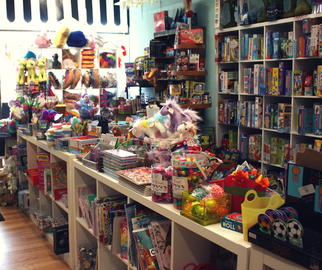 Shelves, cubbies and tables full of toys at Beat Street in Arlington Heights