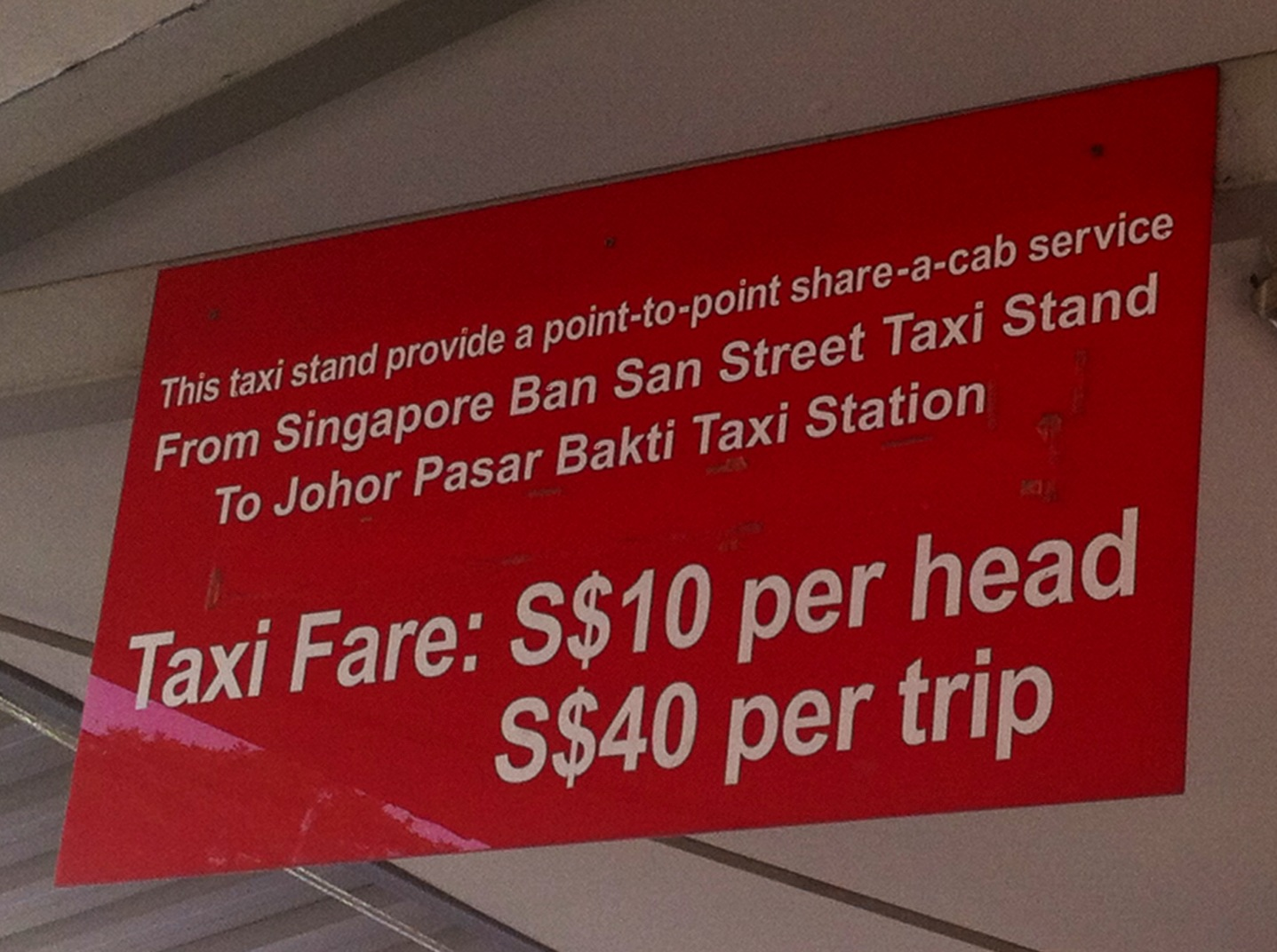 Singapore to Malaysia Taxi fare and rates