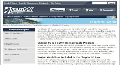 screen grab of MassDOT Chapter 90 program page