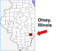Map of Illinois showing location of the city of Olney.