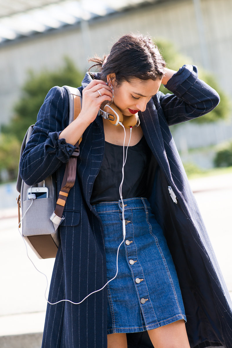 Moshi tech accessories, giveaway, chic tech accessories, SF street style, pinstripe coat, fall style, winter style, startup style, chic headphones, Frye harness boots