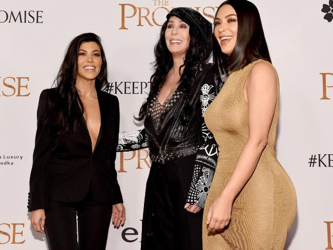 "Kim Kardashian slays brown body-hugging dress at Hollywood movie ""The Promise"" premier"
