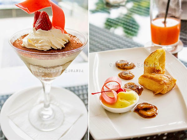 Left: Tiramisu | Right: Cheese Cake Fritters crispy fried cheese cake served with banana foster flambee and vanilla ice cream