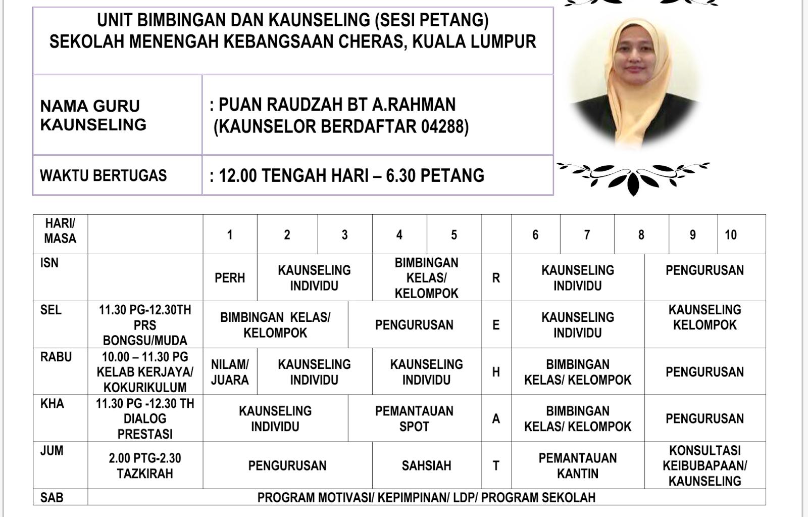 Kaunselor Nurhaiza Che Mat Jadual Waktu Guru Kaunseling Smk Cheras 2018