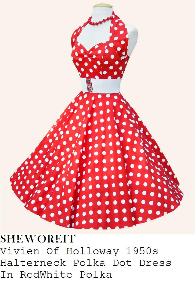74f32f24189dd Catherine Tyldesley s Vivien Of Holloway Red   White All Over Polka Dot  Print 1950s Inspired Sleeveless Halterneck Sweetheart Neckline Full Skirt  Sateen ...