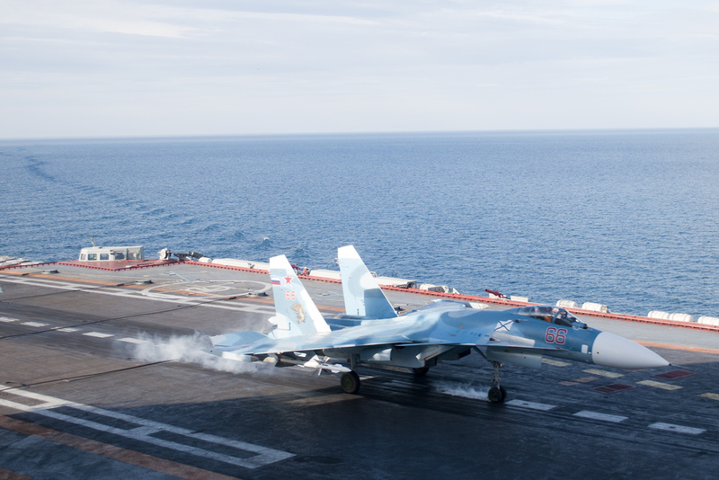 Russian Aircraft Carrier Admiral Kuznetsov with Its Su33