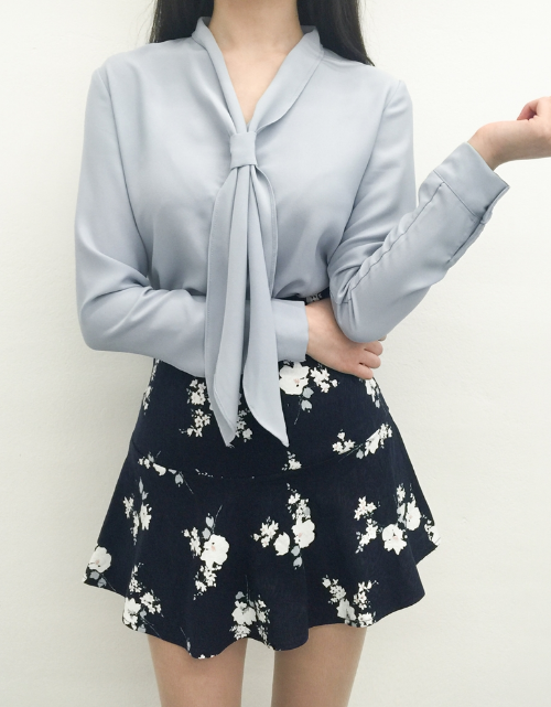Floral Print Banded Waist Skirt