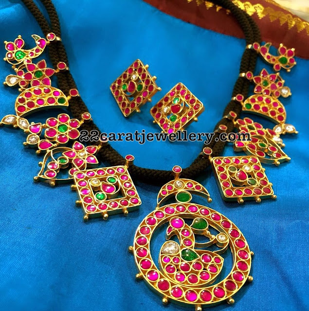 Kundan Black Thread Necklace in SIlver