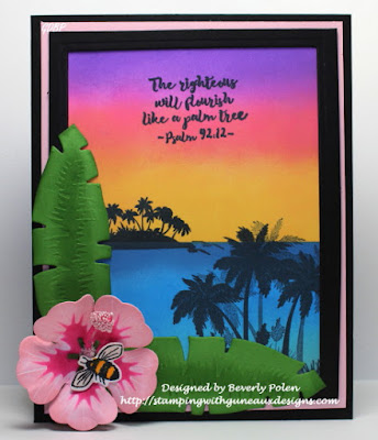 ODBD Bon Voyage, ODBD Custom Hibiscus Dies, ODBD Custom Tropical Leaves Dies, ODBD Custom Butterfly and Bugs Dies, ODBD Butterfly and Bugs, ODBD Customer Card of the Day by Beverly Polen aka guneauxdesigns