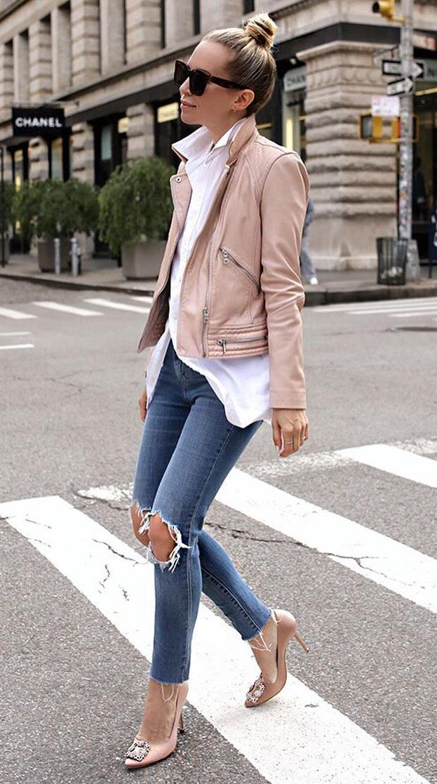 cute outfit idea to try this fall : blush biker jacket + heels + rips + white shirt