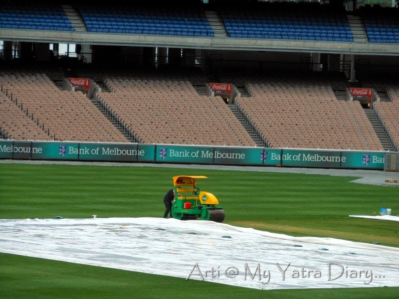 Super sopper at work at the MCG cricket ground in Melbourne Victoria