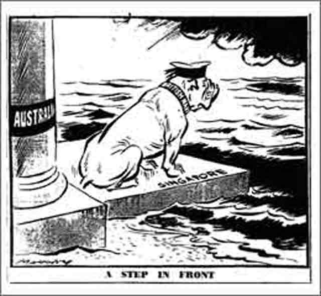 Cartoon in Australian Sydney Daily Telegraph, 4 December 1941 worldwartwo.filminspector.com