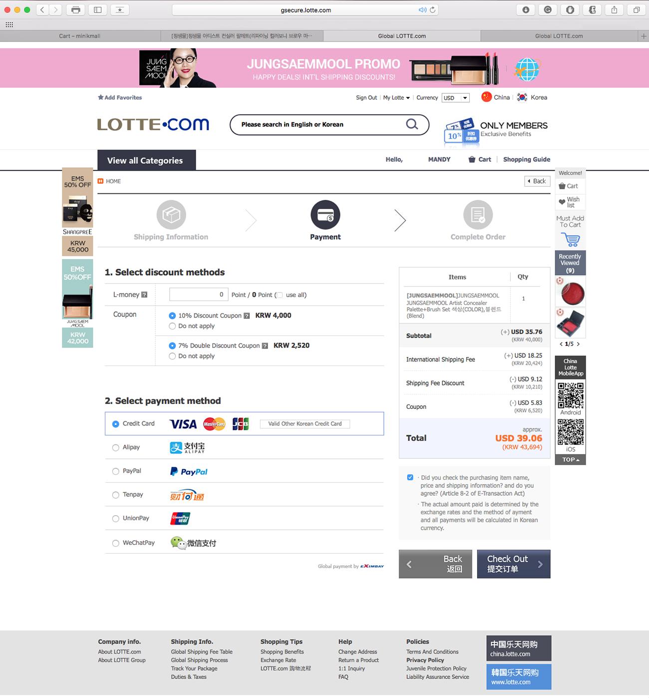 lavlilacs April 2017 haul - Global Lotte payment page
