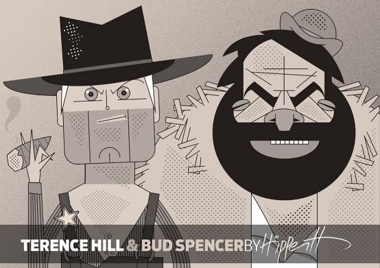 Caricatura de Terence Hill y Bud Spencer por André Hippertt