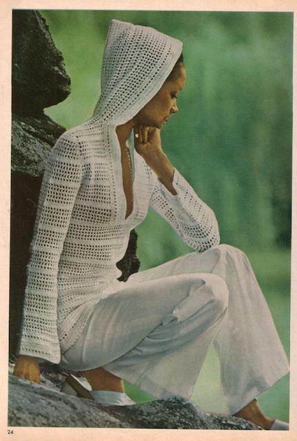 The Vintage Pattern Files: Free 1970's Crochet Pattern - Women's Hooded Top