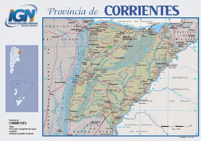 Mapa da província de Corrientes - Argentina