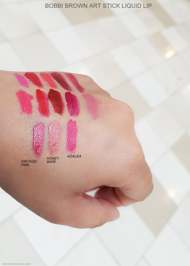 Bobbi Brown Art Stick Liquid Lipsticks - Swatches  Vintage Pink - Honey Bare - Azalea