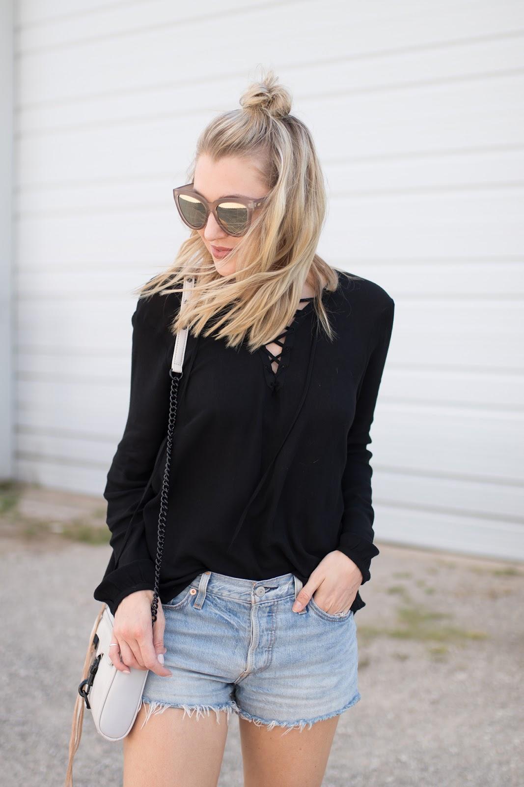 BB Dakota black lace-up top