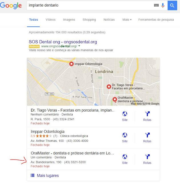Resultado de marketing de busca para médicos e dentistas