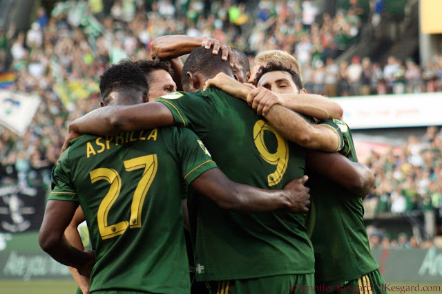 Timbers group hug after I jumped the barrier and got banned for 2 seasons