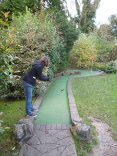Emily Gottfried playing the Victoria Falls Adventure Golf course in Bath