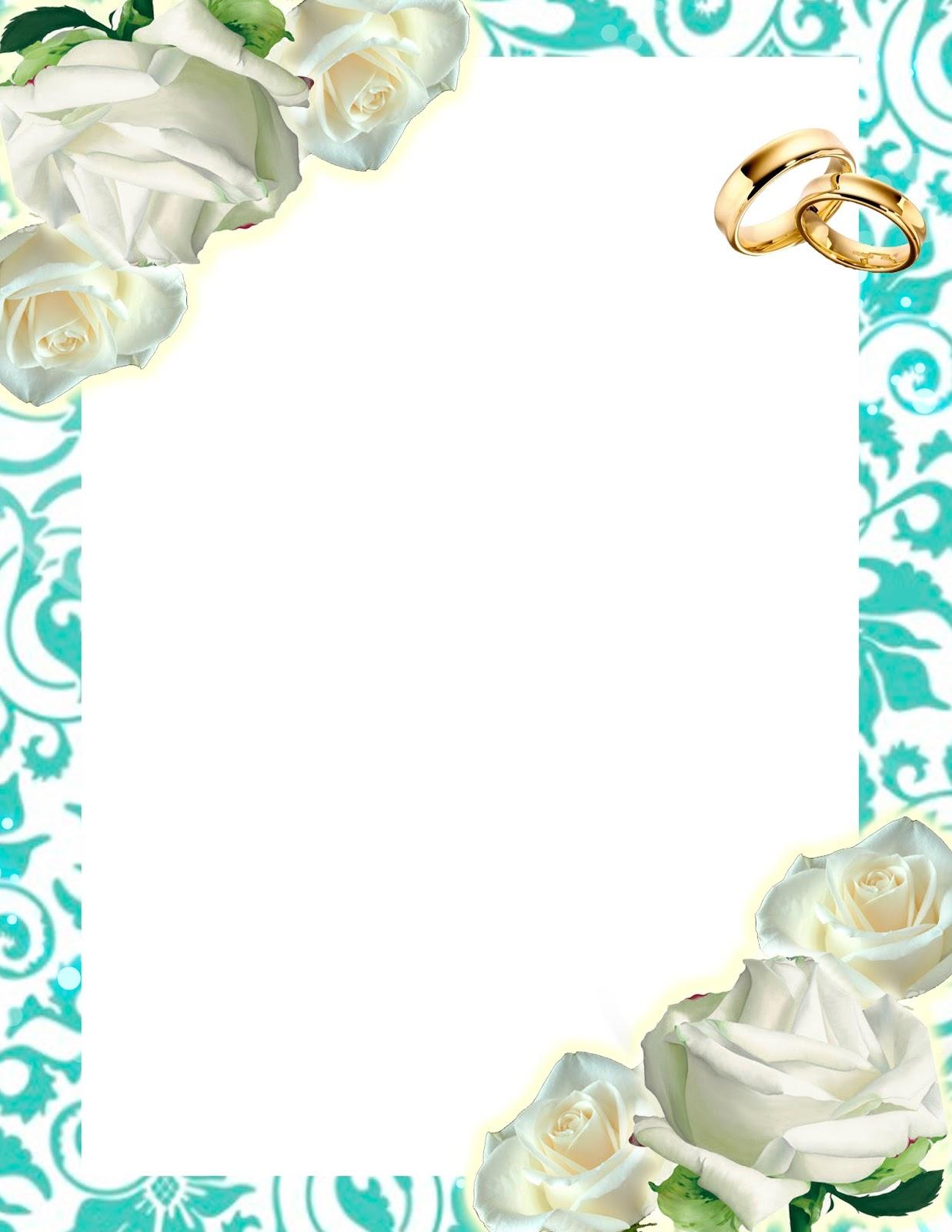 Descarga Gratis! Invitación Turquesa con Rosas Blancas y Anillos ...
